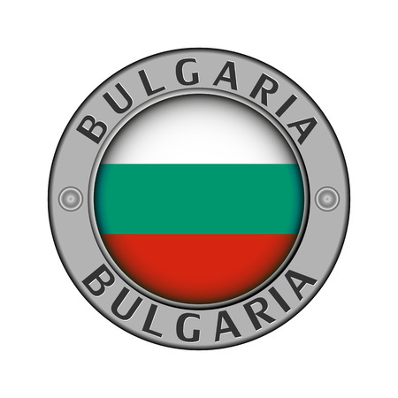 Round metal medallion with the country name Bulgaria and a round flag in the center