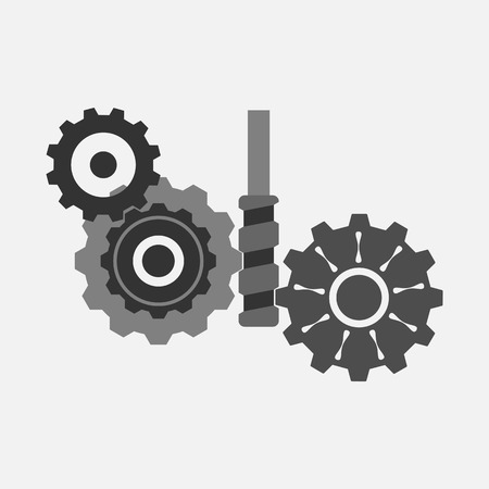 Gears and worm gear. Conceptual idea on the topic of teamwork.