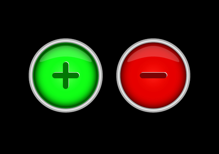 Green and red buttons with plus and minus signs