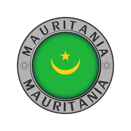 Round metal medallion with the name of the country of Mauritania and a round flag in the center Stock Illustratie