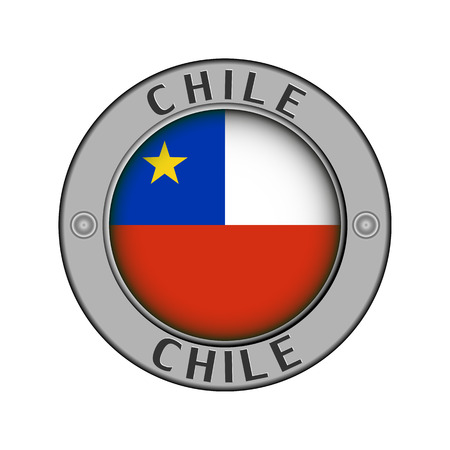 Round metal medallion with the name of the country of Chile and a round flag in the center