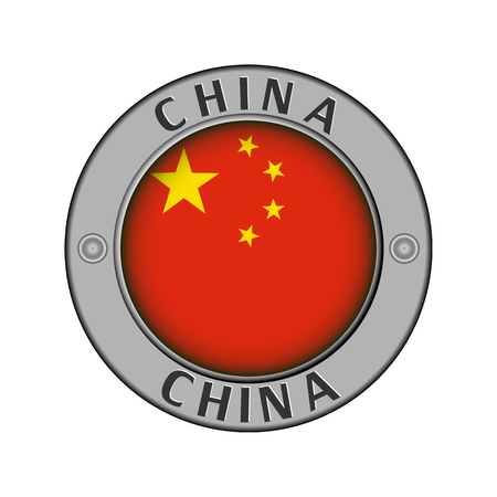 Round metal medallion with the name of the country China and round the flag in the center Stock Illustratie