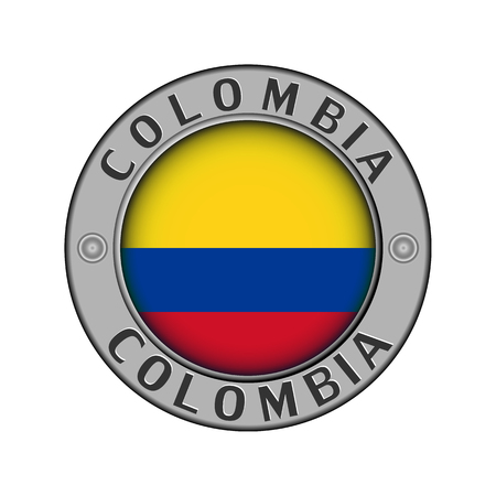 Round metal medallion with the name of the country of Colombia and a round flag in the center Stock Illustratie
