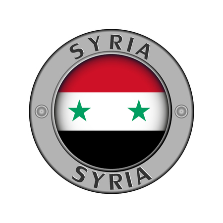 Round metal medallion with the name of the country of Syria and a round flag in the center