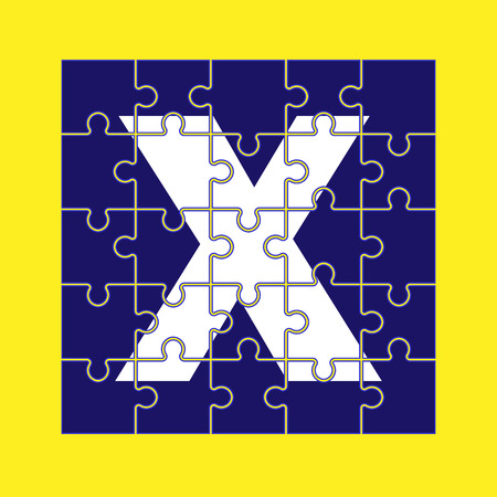 letter X is written on the puzzle pieces