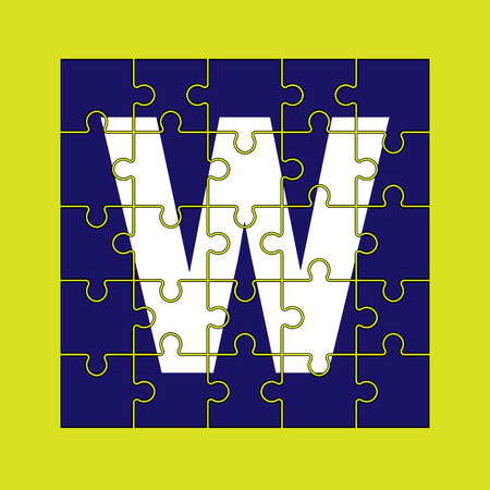 letter W is written on the puzzle pieces.