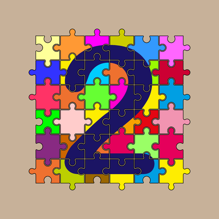 number 2 is composed of pieces of multi-colored puzzles