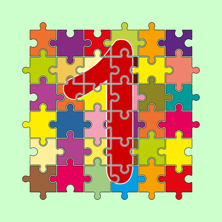 number 1 is composed of pieces of multi-colored puzzles Çizim