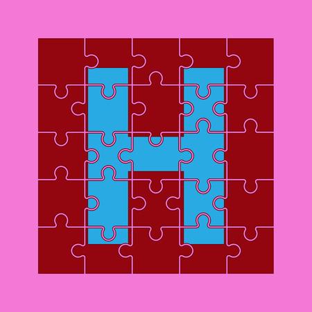 la lettre H est écrite sur les pièces du puzzle