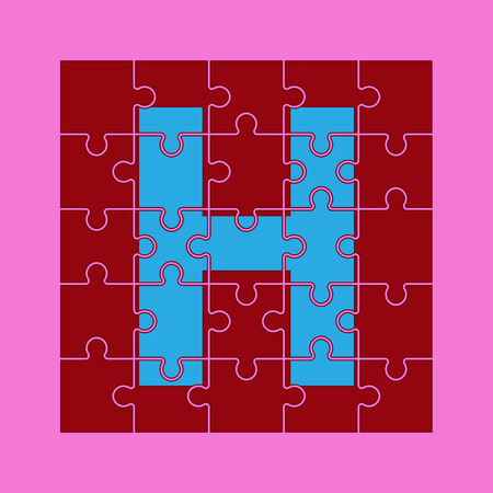letter H is written on the puzzle pieces Çizim