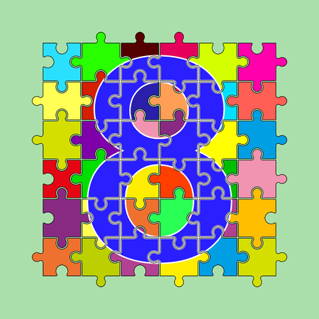 number 8 is composed of pieces of multi-colored puzzles Çizim