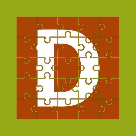 letter D is written on the puzzle pieces Ilustrace