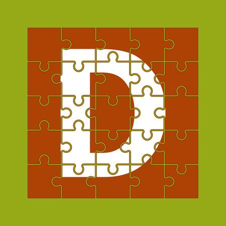 letter D is written on the puzzle pieces Çizim