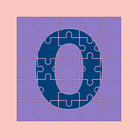 letter O is written on the puzzle pieces
