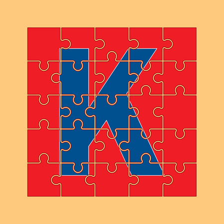 letter K is written on the puzzle pieces Çizim