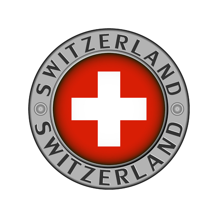 Round metal medallion with the name of the country Switzerland and a round flag in the center
