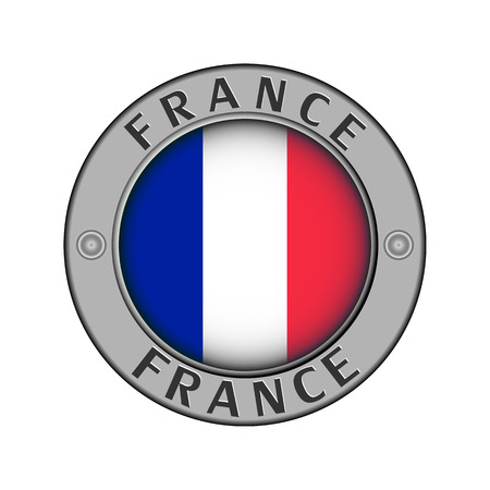 Round metal medallion with the name of France and round flag in the center