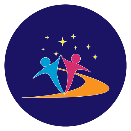 Abstract depiction of people dancing to create an emblem or logo of a community or event