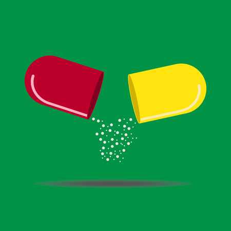 medicine is poured from two halves of the open capsule Illustration