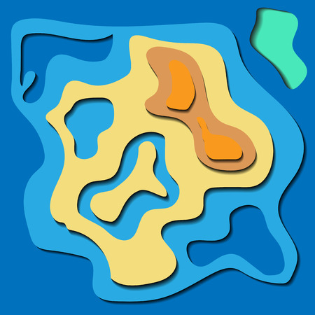 Abstract relief pattern with volume elements in blue and sand shades