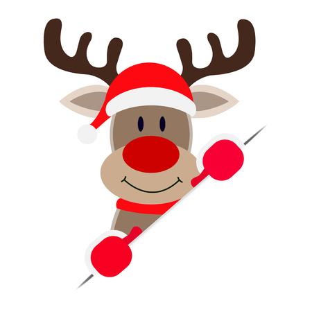 Santa Claus deer peeking out of white paper