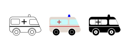 Set of 3 ambulance cars, contour, color and silhouette