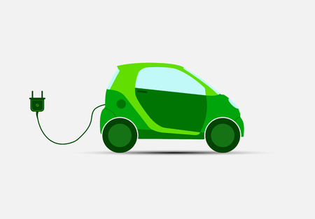 Green electric car with charge for charging. ecological transport.