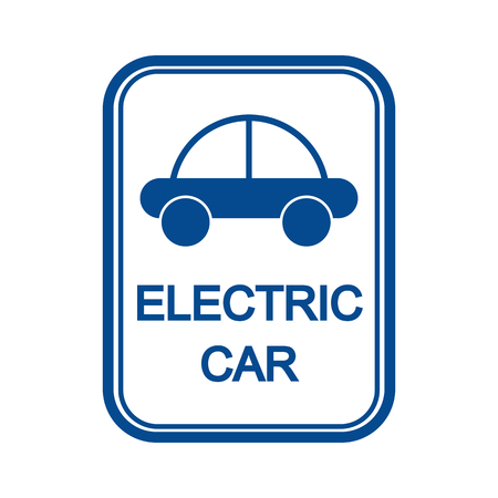 Blue sign with the image of the car and the inscription electric car