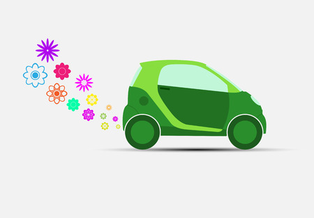 Ecological transport. green car with harmless emissions into the environment Illustration