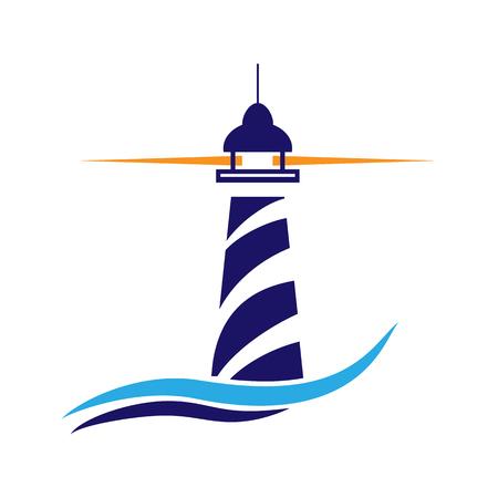 Icona del faro. Navigazione marittima e spedizione Vettoriali
