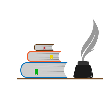 A stack of bookmarked books and a pen in the inkwell. Vector Illustration