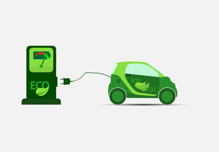 Green electric car with charging and charging station. ecological transport. Illustration