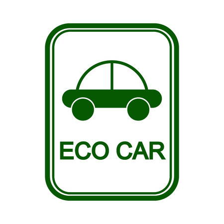 Green sign with the image of the car and the words eco car