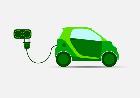Green electric car with transport for charging and socket. ecological transport.
