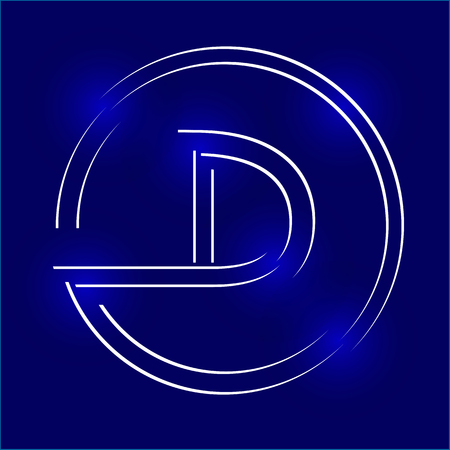 Silhouette of the letter D inside the circle.