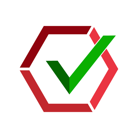 Green checkmark icon in red hexagon divided into parts. Flat image.