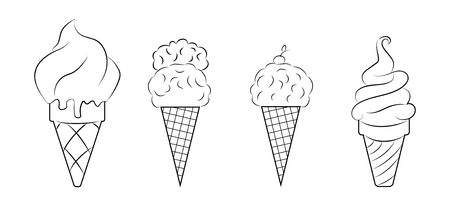 Set of contour images of ice cream in waffle cups