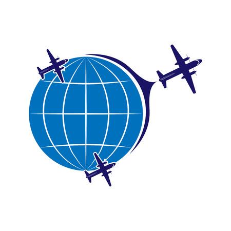 Logotipo sobre el tema de la aviación, el turismo y los viajes. Transporte aéreo. Vuelo de aviones y globo.