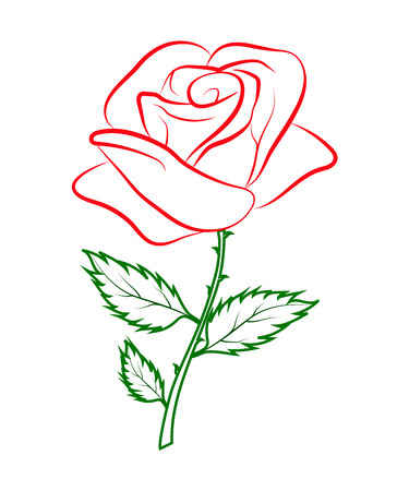 Simple outline colored drawing of a red rose on a green stalk