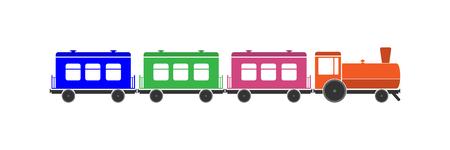 Simple colored children's train with cars and locomotive Foto de archivo - 113859539