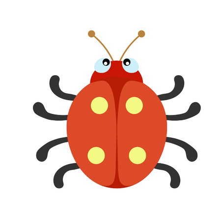 Colored silhouette flat simple drawing of a beetle