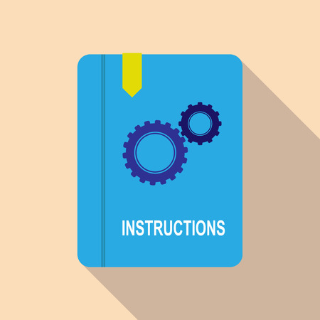 Colorful simple workbook icon with bookmark and inscription instruction, long shadow