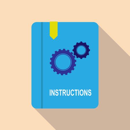 Icona colorata semplice cartella di lavoro con segnalibro e istruzioni per l'iscrizione, lunga ombra