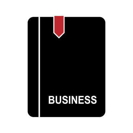 Flat simple workbook icon with a red bookmark and an inscription business.