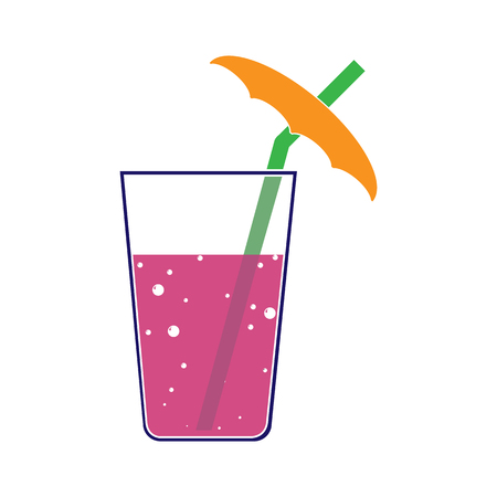 Silhouette color image of a glass with a drink and a straw with an umbrella