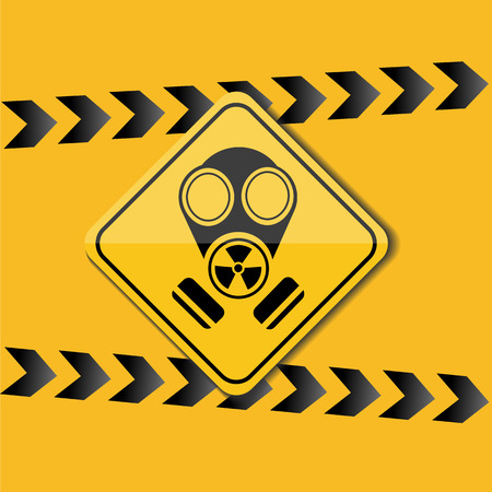 sign with the image of a gas mask, a warning on a yellow background Illustration