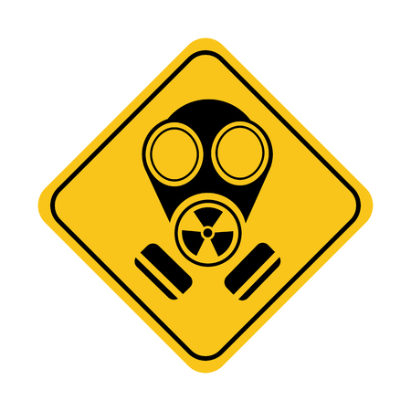 Simple drawing of a sign with the image of a gas mask, warning of danger