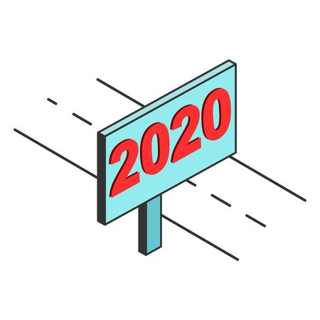 road is billboard with the inscription 2020, imitation 3D Archivio Fotografico - 126785902