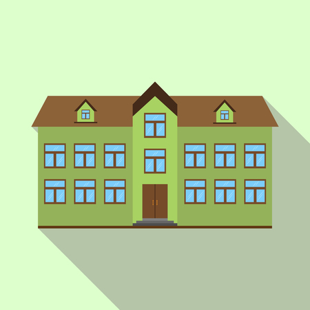 Colorful icon of a two-story building with attic, long shadow Ilustracja