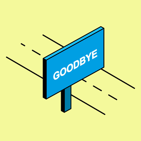 Simple drawing. The road is a billboard with the words Goodbye Archivio Fotografico - 126785914